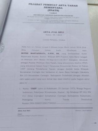 AJB tanah kas DESA LEMBUR SAWAH - infokowasi info berita sukabumi update