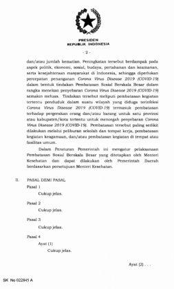 PP Pembatasan Sosial Berskala Besar untuk Percepatan Penanganan Covid-19