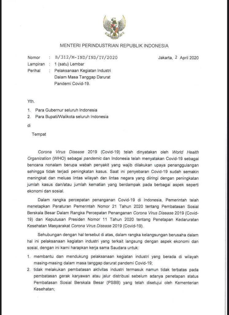 Bupati Sukabumi Sosialisasikan surat Edaran Menteri Perindustirian