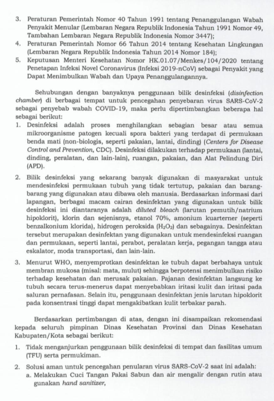 Penting! Surat Edaran Kementrian Kesehatan Nomor : HK.02.02/III/375/2020